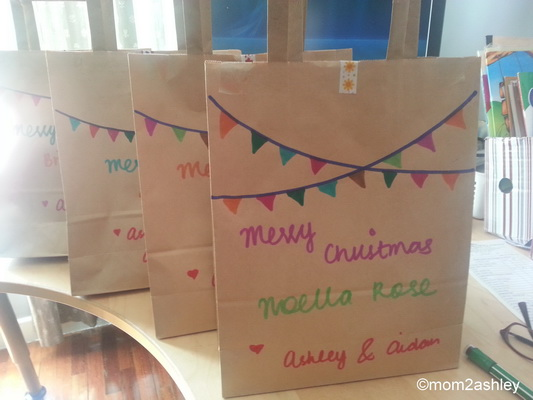 Decorated brown paper bags christmas decoration for home